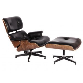 Eames-style Walnut and Black Aniline Leather Lounge Chair and Ottoman