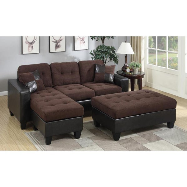 Kidd Suede Sectional Sofa And Ottoman Set