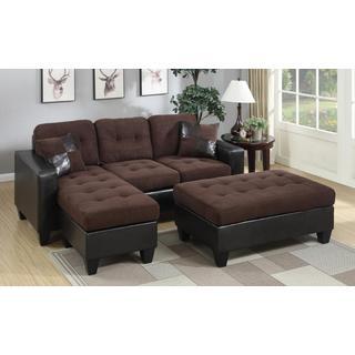 Kidd Suede Sectional Sofa and Ottoman Set