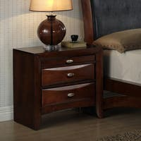 Emily Merlot Solid Wood 3-drawer Nightstand