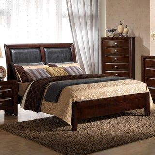 Emily Contemporary Merlot Wood and Bonded Leather Queen-size Panel Bed