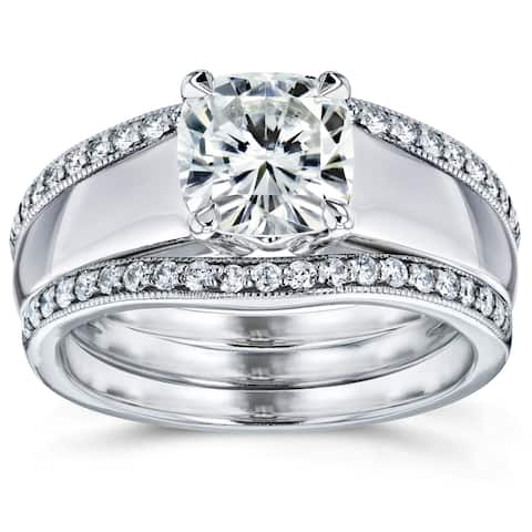 Annello by Kobelli 14k White Gold 1 2/5ct TGW Cushion Cut Moissanite Solitaire and Diamond Double Band (HI/VS, GH/I)