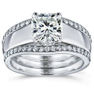 Annello 14k White Gold Cushion Cut Moissanite Solitaire and 1/3ct TDW Diamond Double Bands 3-Piece Set (G-H, I1-I2)