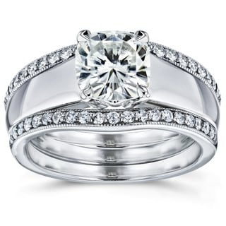 Annello by Kobelli 14k White Gold Cushion Cut Moissanite Solitaire and 1/3ct TDW Diamond Double Band