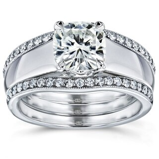 Annello by Kobelli 14k White Gold Cushion Cut Moissanite (HI) Solitaire and 1/3ct TDW Diamond Double Band