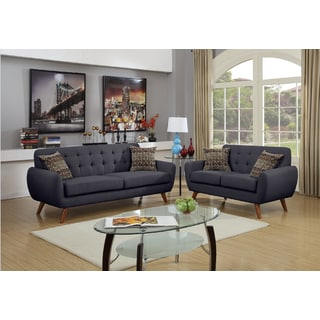 mid century tufted 2 piece living room sofa set - Blue Living Room Set