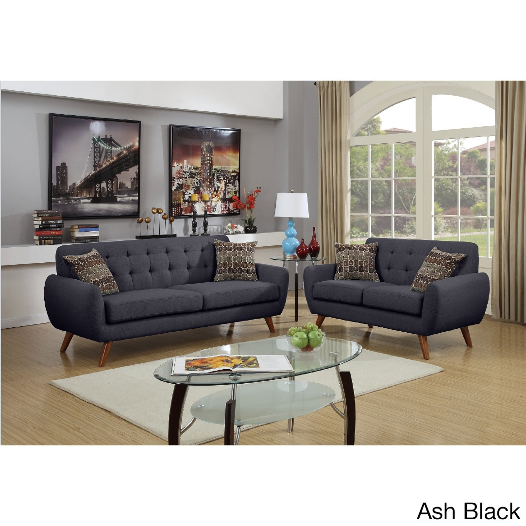 Mid Century Tufted 2-piece Living Room Sofa Set
