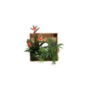D&W Silks Wooden Shadow Box with Birds of Paradise and Foliage