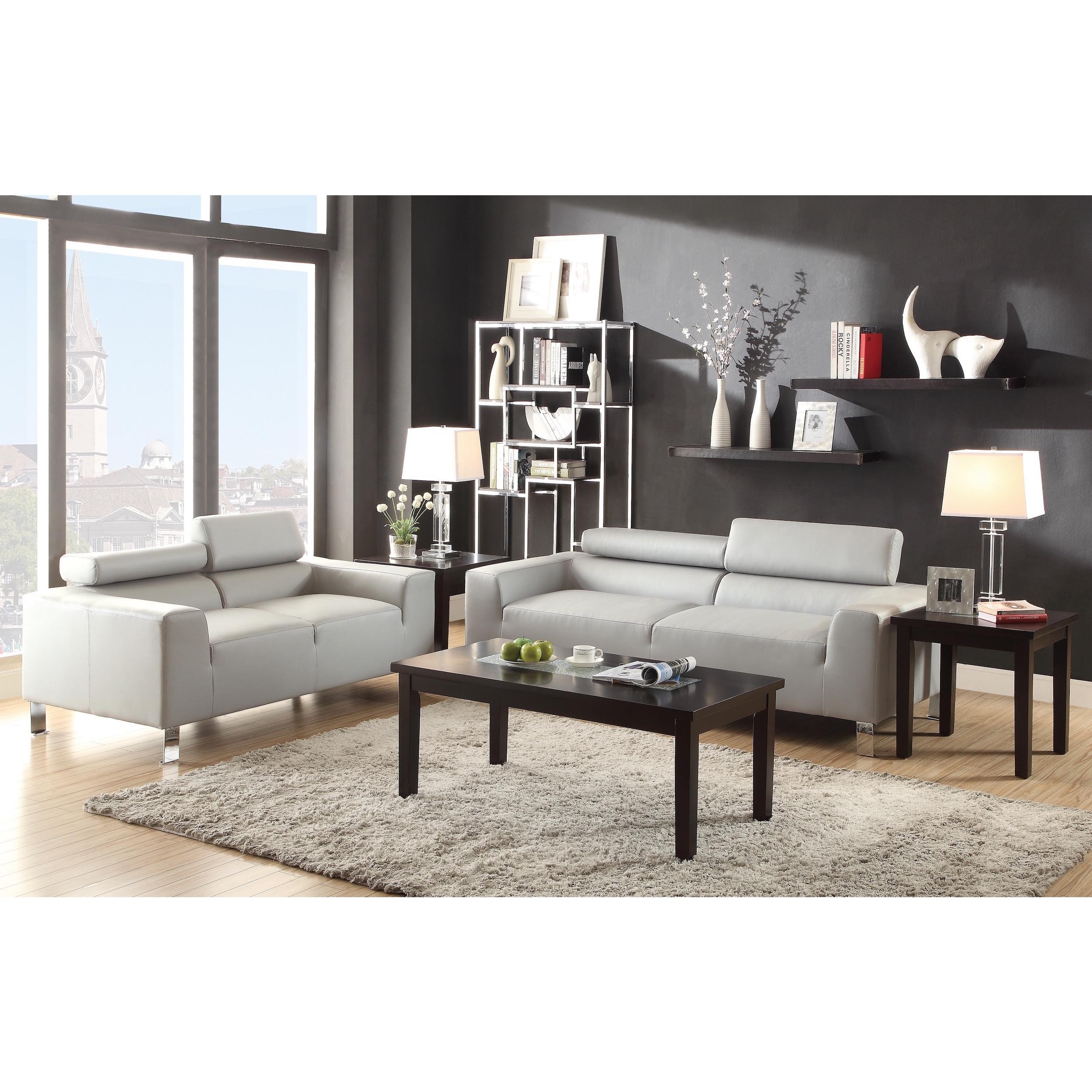 Lucas 2-Piece Bonded Leather Modern Sofa Set | eBay