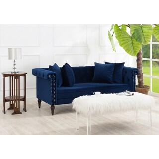 Jennifer Taylor Jasmine Chesterfield Blue Velvet Sofa