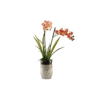 D&W Silks Red/Cream Vanda Orchids in Silver Zebra Print Ceramic Planter