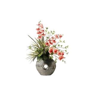 D&W Silks Red/Cream Vanda Orchids in Silver and Black Ceramic Planter