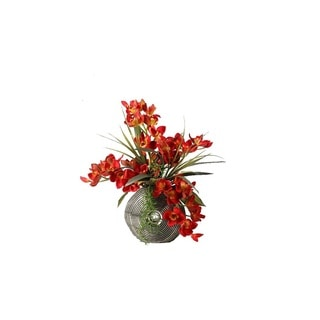 D&W Silks Red Cymbidium Orchids with Foliage and Succulents in Silver and Black Ceramic Planter