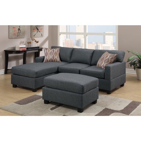 Shop Lilly Grey Microfiber 3-piece Sectional Sofa - Free Shipping ...