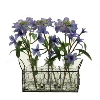 D&W Silks Light Blue Scabiosa and Spike Flowers in Glass Milk Bottles in Wire Holder