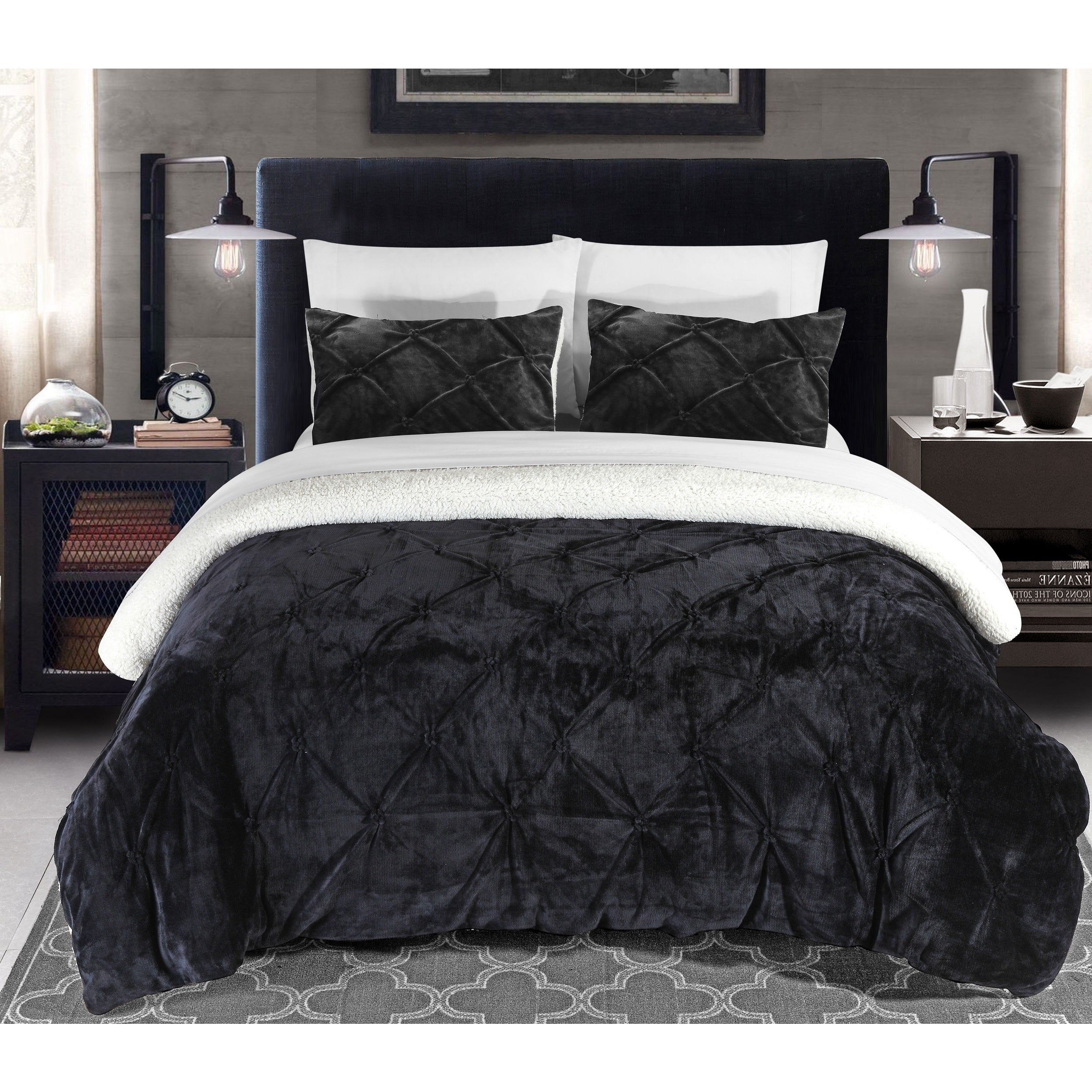 Chic Home 2 Piece Chiara Black Comforter Set Overstock 12853797