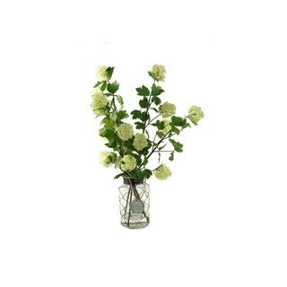 D&W Silks Cream/Green Snowball Branches in Glass Jar