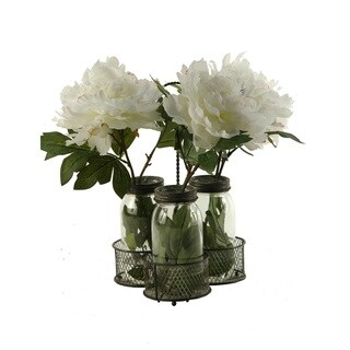 D&W Silks Cream/Pink Peonies in Glass Jars in Metal Holder