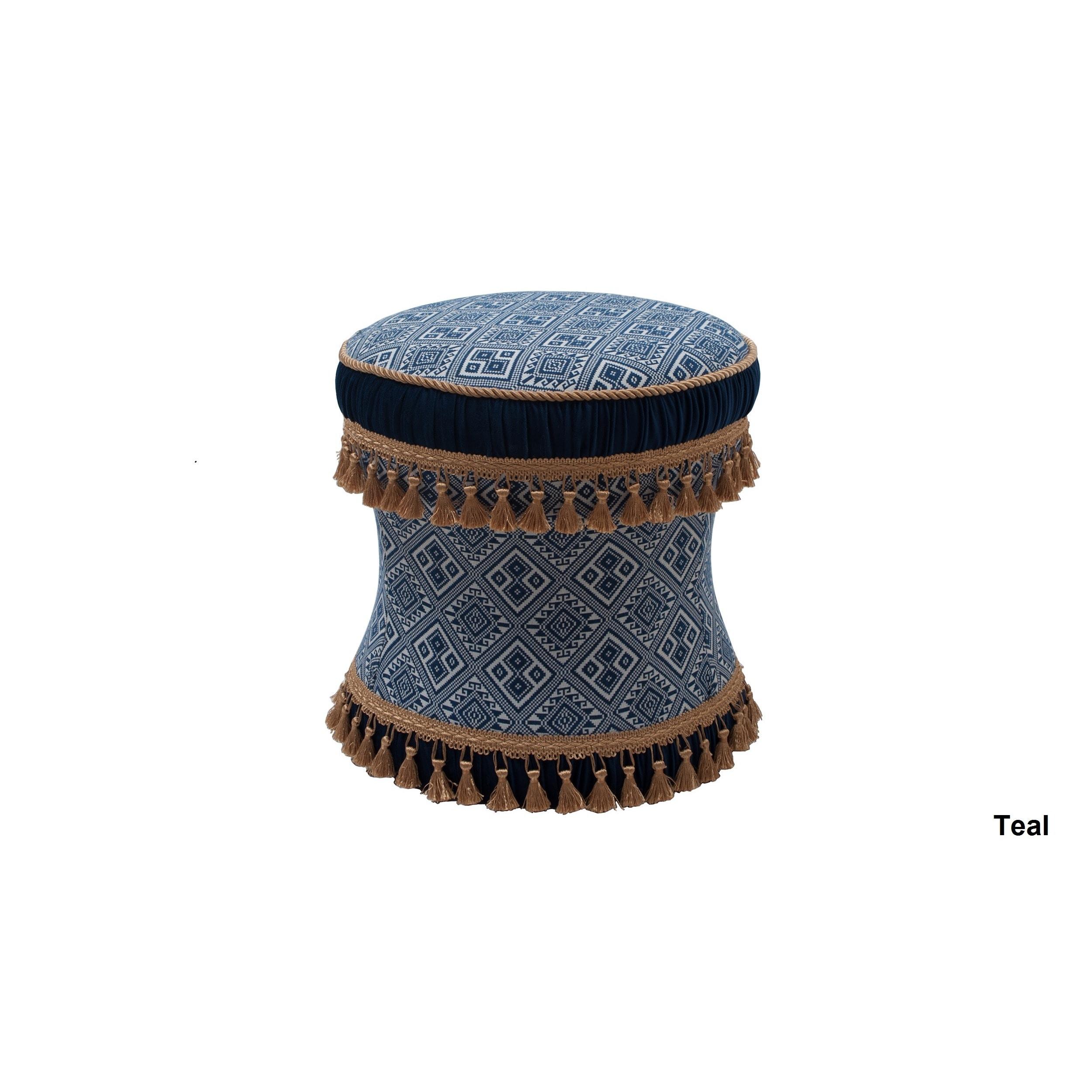 Jennifer Taylor Leona Decorative Vanity Stool (Teal (Blue...