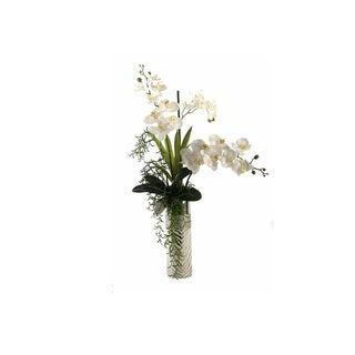 D&W Silks Cream Phael and Vanda Orchids in Silver Zebra Print Ceramic Planter