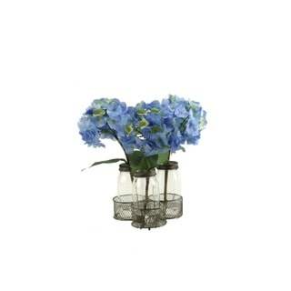 D&W Silks Blue Hydrangeas in Glass Milk Bottles in Metal Holder