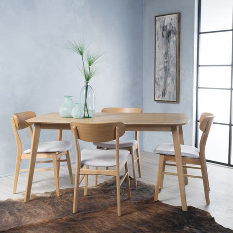 Lucious Mid-Century 5-piece Rectangle Dining Set by Christopher Knight Home