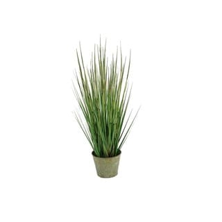 D&W Silks 31-inch Onion Grass in Round Metal Planter