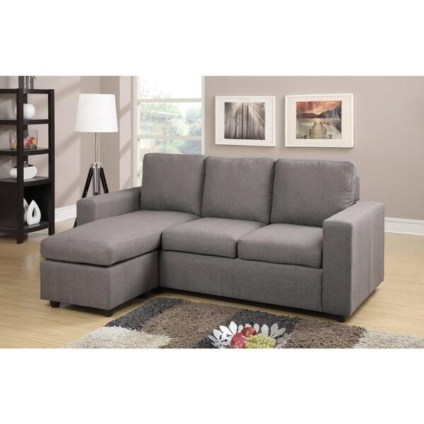 Shop Contemporary Microfiber Fabric 3-piece Sectional Sofa ...