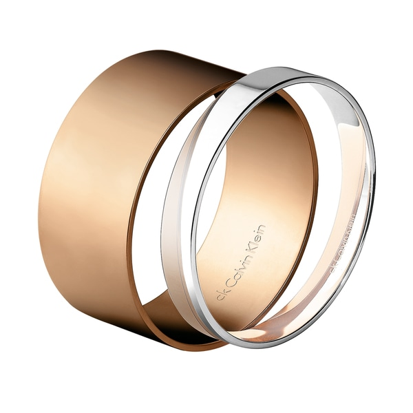 Calvin Klein Women's Satisfaction Stainless Steel and Rose Gold PVD Coated Fashion Bracelet
