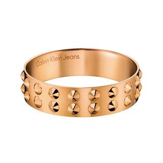 Calvin Klein Women's Studs Leather Stainless Steel Rose Gold PVD-coated Fashion Bracelet