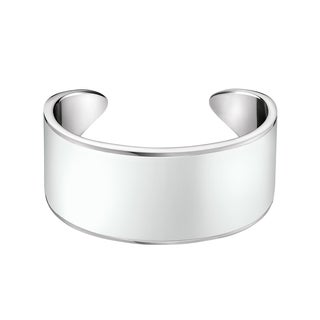 Calvin Klein Women's Stainless Steel Glossy Fashion Cuff Bracelet (Available in White and Black)