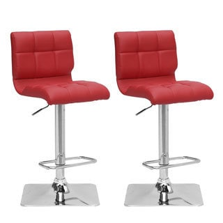 Adjustable Solid/Chrome Bonded Leather Adjustable Barstool (Set of 2)