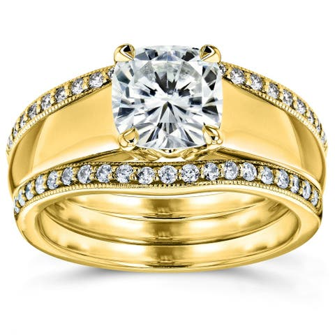 Annello by Kobelli 14k Yellow Gold 1 2/5ct TGW Cushion Cut Moissanite Solitaire and Diamond Double Band (HI/VS, GH/I)