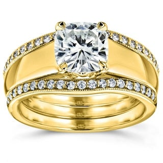 Annello 14k Yellow Gold Cushion Cut Moissanite Solitaire and 1/3ct TDW Diamond Double Bands 3-Piece Set (G-H, I1-I2)