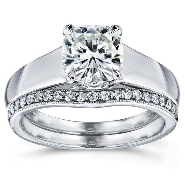 b4d44b6c00c2ce Annello by Kobelli 14k White Gold 1 1 4ct TGW Cushion Moissanite and  Diamond Wide
