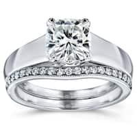 Annello by Kobelli 14k White Gold Cushion Cut Moissanite (HI) Solitaire and 1/6ct TDW Diamond Band Bridal