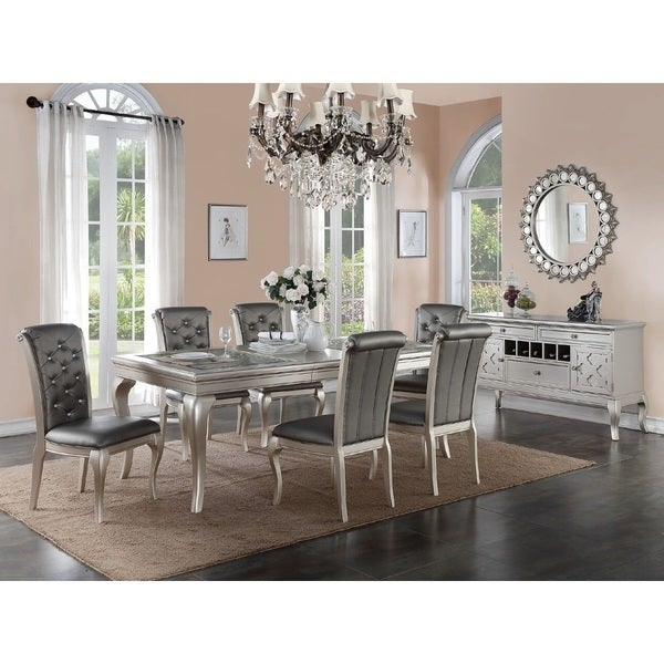Shop Bermington Silver Wood And Fabric Dining Chairs (Set