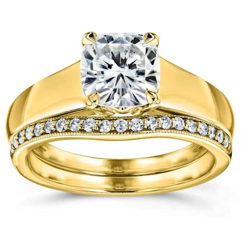 Annello by Kobelli 14k Yellow Gold 1 1/4ct TGW Cushion Moissanite and Diamond Wide Band Wedding Rings (HI/VS, GH/I)