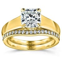 Annello by Kobelli 14k Yellow Gold 1 1/4ct TGW Cushion Moissanite and Diamond Wide Band Wedding Rings (HI/VS, GH/I)