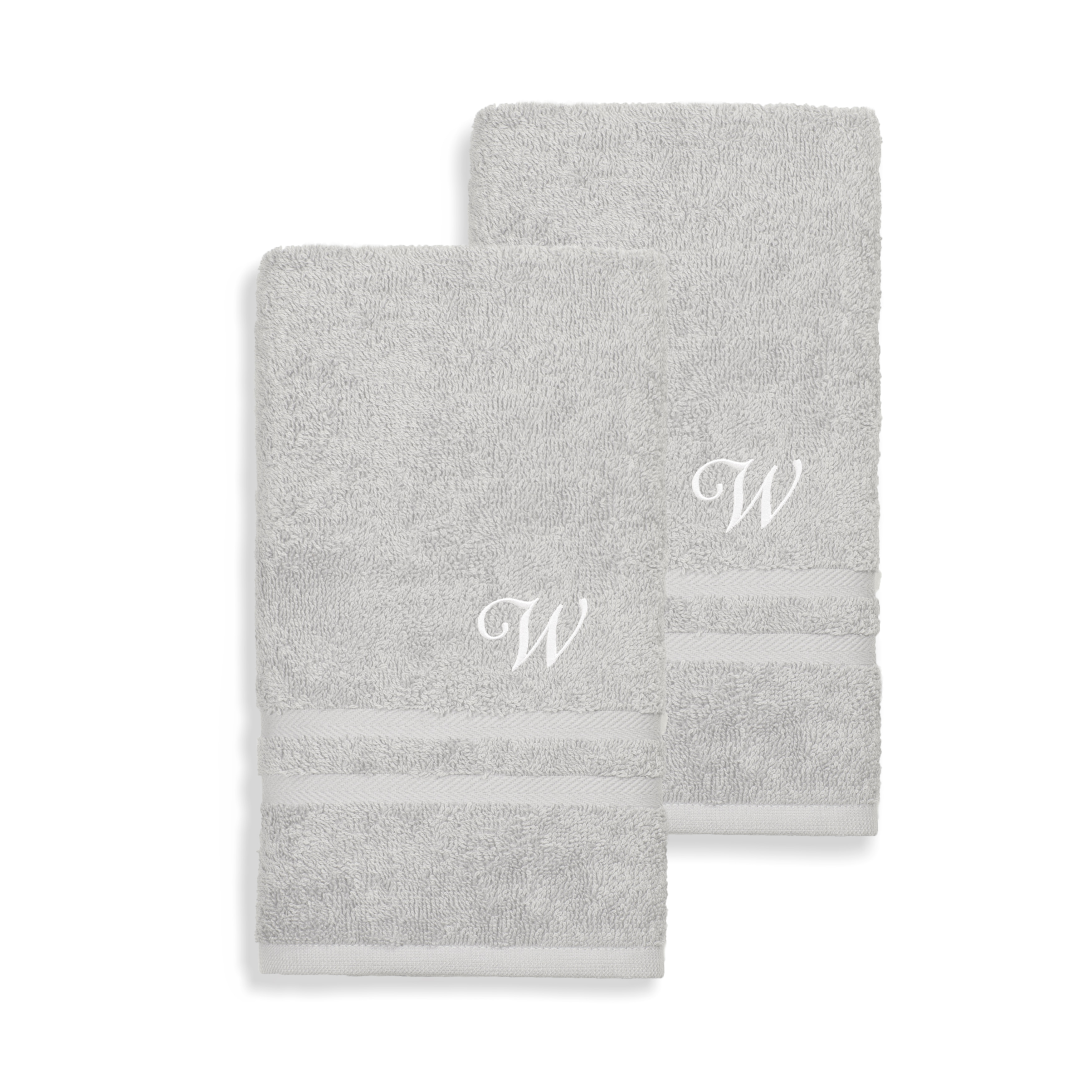 Gracewood Hollow John Turkish Cotton Set Of 2 Grey Hand Towels With White Script Monogr On Sale Overstock 21181247