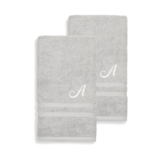 Authentic Hotel and Spa Omni Turkish Cotton Terry Set of 2 Grey Hand Towels with White Script Monogrammed Initial