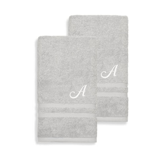 Authentic Hotel and Spa Omni Turkish Cotton Terry Set of 2 Grey Hand Towels with White Script Monogrammed Initial|https://ak1.ostkcdn.com/images/products/12854007/P19617091.jpg?impolicy=medium