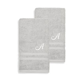 Clay Alder Home Lumin Turkish Cotton Set of 2 Grey Hand Towels with White Script Monogram