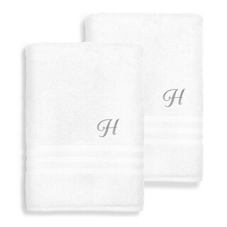 Authentic Hotel and Spa Omni Turkish Cotton Terry Set of 2 White Bath Towels with Grey Script Monogrammed Initial
