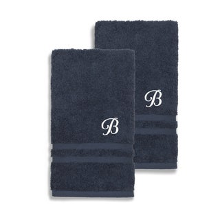 Authentic Hotel and Spa Omni Turkish Cotton Terry Set of 2 Navy Blue Hand Towels with White Script Monogrammed Initial
