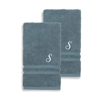 Link to Authentic Hotel and Spa Omni Turkish Cotton Terry Set of 2 Medium Blue Hand Towels with White Script Monogrammed Initial Similar Items in Towels