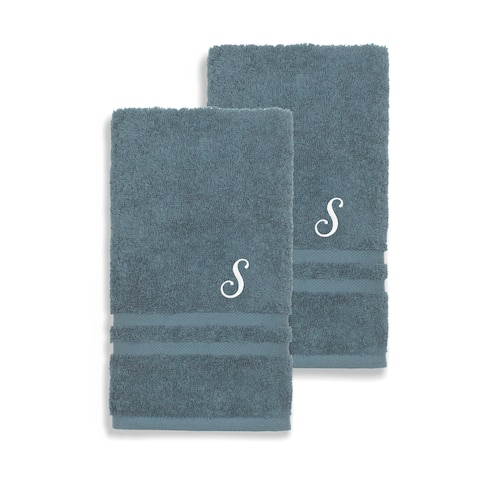 Authentic Hotel and Spa Omni Turkish Cotton Terry Set of 2 Medium Blue Hand Towels with White Script Monogrammed Initial