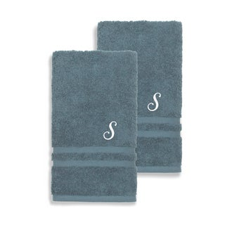 Authentic Hotel and Spa Omni Turkish Cotton Terry Set of 2 Medium Blue Hand Towels with White Script Monogrammed Initial (More options available)