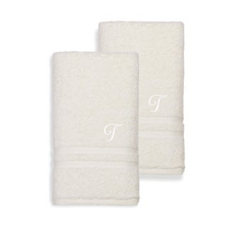 Authentic Hotel and Spa Omni Turkish Cotton Terry Set of 2 Cream Hand Towels with White Script Monogrammed Initial