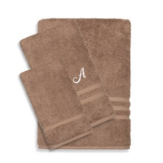 Authentic Hotel and Spa Omni Turkish Cotton Terry 3-piece Latte Brown Bath Towel Set with White Script Monogrammed Initial|https://ak1.ostkcdn.com/images/products/12854015/P19617097.jpg?impolicy=medium